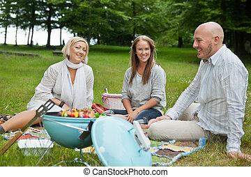 友人, ピクニック, 持つこと, 幸せ