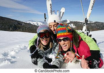 友人, 休日, 群をなしなさい, スキー
