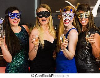 友人, 保有物, 笑い, マスク, ガラス, シャンペン, 身に着けていること