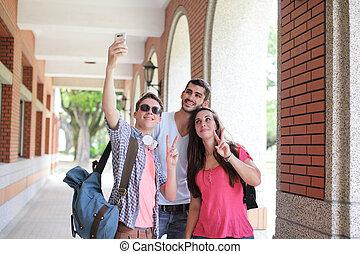 友人, 取得, グループ, selfie, 幸せ