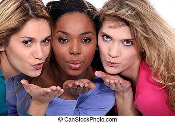 友人, 吹く, 接吻, 3, 女性
