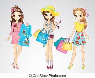 友人, 女の子, ファッション, 買い物