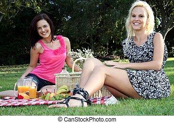 友人, 女性, 微笑, 素晴らしい, ピクニック