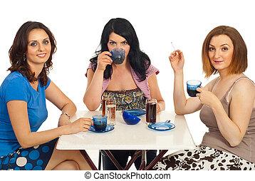 友人, 女性, 飲む コーヒー, 一緒に
