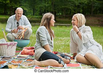 友人, 屋外, ピクニック, 幸せ