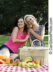 友人, 微笑, 女性, ピクニック, 素晴らしい