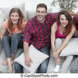 友人, 枕, ソファー, グループ, モデル
