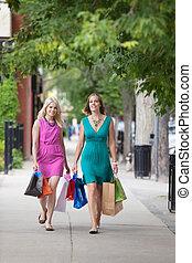 友人, 歩くこと, shopaholic, 歩道, 女性