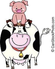 友人, 牛, 豚
