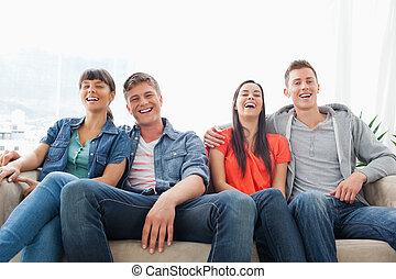 友人, 見なさい, グループ, 笑い, カメラ