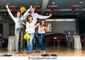 友人, 遊び, グループ, 若い, ボウリング