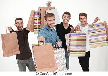 友人, shopping., グループ, ダンス