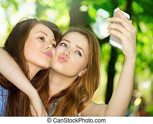 友人, smartphone., selfie, 十代, 写真, 取得