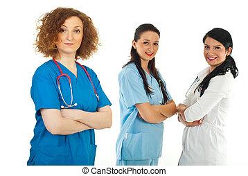 友好的博士, 婦女, 以及, 她, 隊