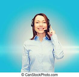 友好, 女性, helpline, 操作員