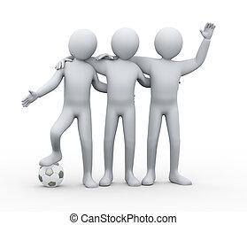 友情, フットボール, 3d, プレーヤー