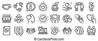 友情, 援助, 相互作用, ベクトル, 愛, icons., 理解, business., 線, 相互