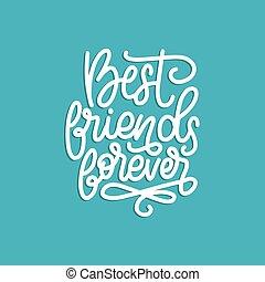 友情, 永久に, グリーティングカード, 手, ∥など∥., ベクトル, デザイン, lettering., ポスター, calligraphic, 友人, 日, 最も良く