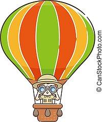 双眼鏡, かいま見ること, balloon, によって, 子供