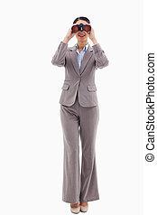 双眼鏡, によって, 肖像画, 見る, 女性実業家
