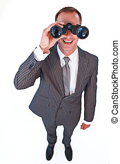 双眼鏡, によって, 見る, ビジネスマン, 高い 角度