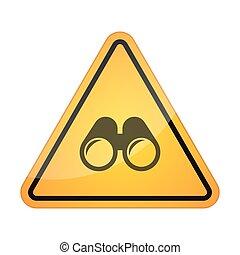 双眼鏡, シグナル, アイコン, 危険
