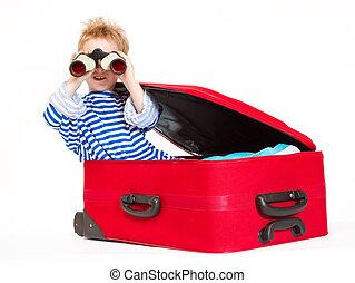 双眼鏡, スーツケース, 子供, 帆