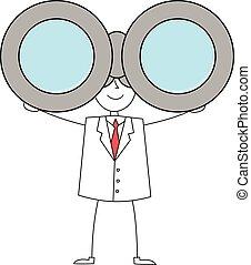 双眼鏡, 人, 漫画, スーツ
