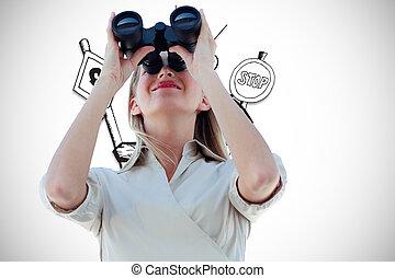 双眼鏡, 合成, によって, 見る, 女性実業家, イメージ