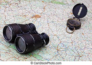 双眼鏡, 地図, 古い, コンパス