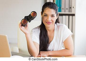 双眼鏡, 机, 保有物, 女性実業家