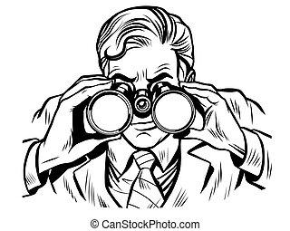 双眼鏡, 歩哨, 線画, 夜警