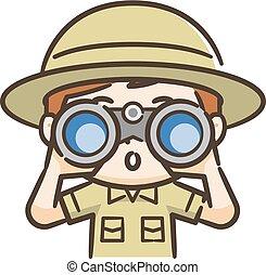 双眼鏡, 男の子, かいま見ること, 冒険家, によって