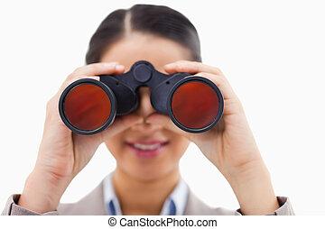 双眼鏡, 終わり, によって, 見る, 女性実業家, の上