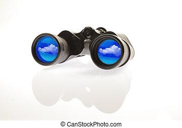 双筒望远镜, 云, 反映
