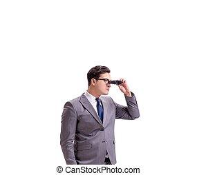 双筒望远镜, 人, 年轻, 白色, 隔离