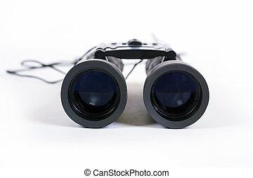 双筒望远镜, 背景。, 白色, 黑色, 隔离