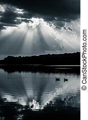 反射, の, 劇的な 空, そして, ガチョウ, 中に, 湖, pinchot, ∥において∥, gifford,...