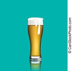 反射, ガラス, の上, 現実的, ビール, 終わり