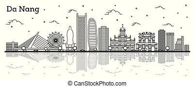 反射, ベトナム, 隔離された, da, nang, 歴史的な建物, 都市 スカイライン, white., アウトライン
