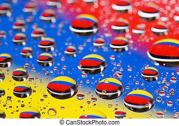 反射, マクロ, 抽象的, 水 ガラス, 緑の背景, blue-yellow-red, 低下