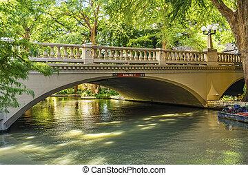 反射, 川, san, 歩きなさい, antonio, 橋, テキサス
