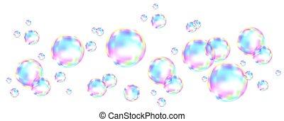 反射。, 虹, 泡, 石鹸, カラフルである