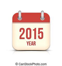 反射。, app, ベクトル, 年, 2015, カレンダー, アイコン