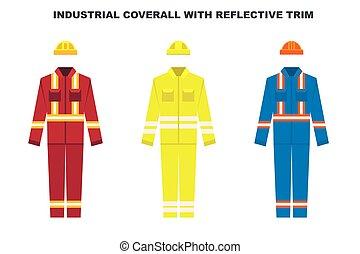 反射, trim., ベクトル, 色, ウエア, 仕事, 産業, types., 労働者, ユニフォーム, illustration., カバーオール, 建設