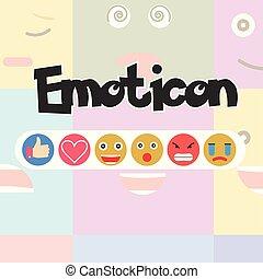 反応, セット, 媒体, -, ベクトル, 社会, emoticon