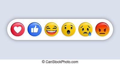 反応, 別, セット, emoticons., -, ベクトル, emoji