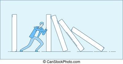 反応, 概念, ビジネス, 鎖, effect., ドミノ, 懸命に, domino., 抵抗, ベクトル, 決定, 押す, 保有物, ビジネスマン, 落ちる, 仕事