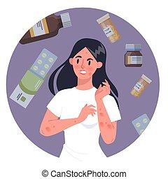 反応, 赤, allergy., skin., medecine, かゆい, アレルギー, 女
