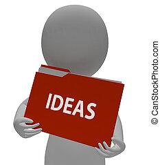 反映, 思索, 想法, 表明, 文件夹, 提供, 3d